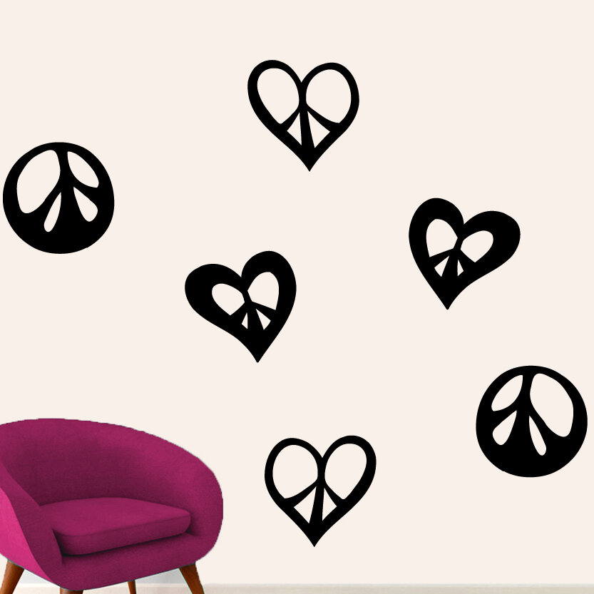 Sweetumswalldecals Peace Signs And Hearts Wall Decal Wayfair