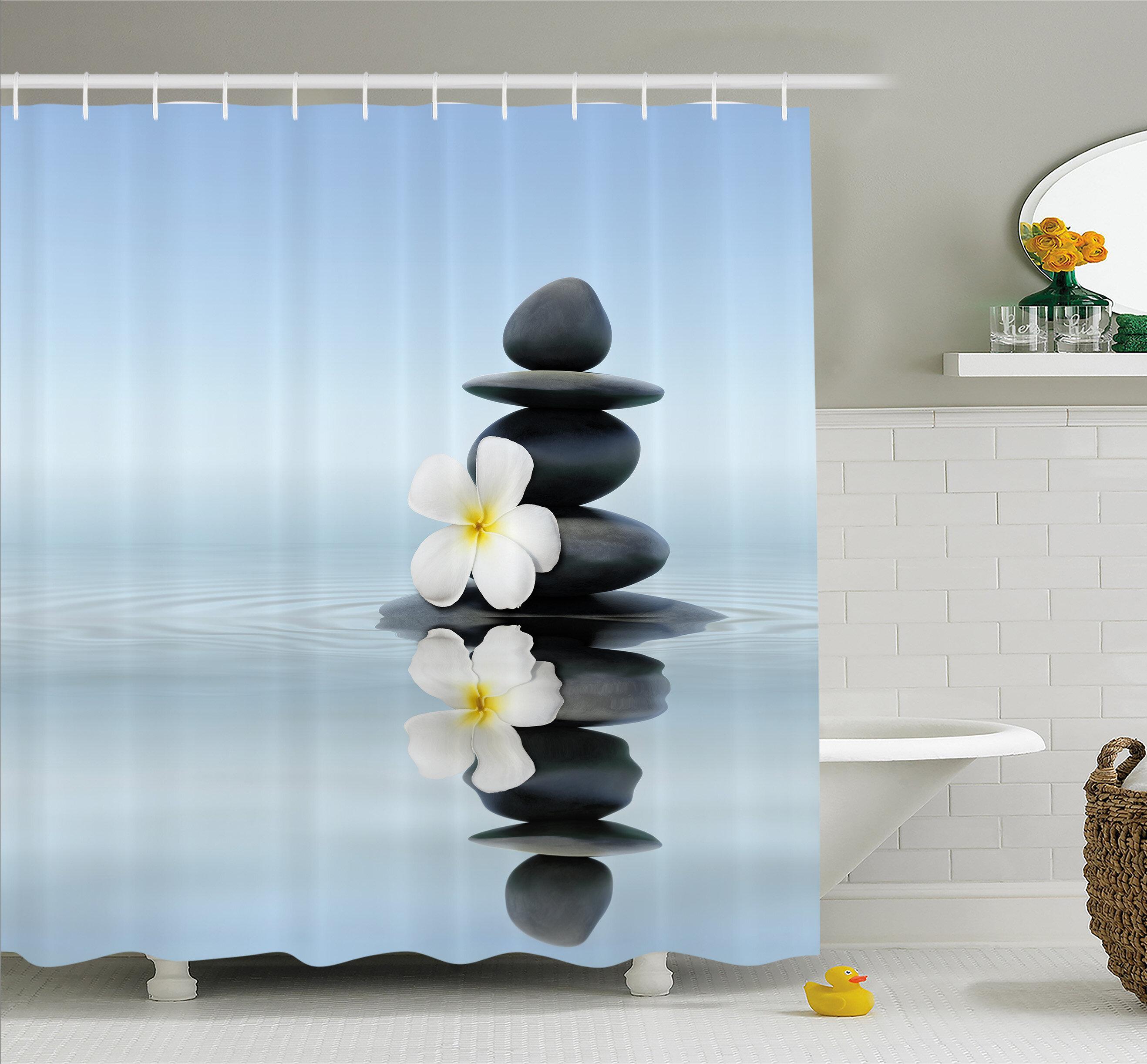 Ambesonne Spa Zen Massage Hot Stones with Asian Frangipani Plumera ...