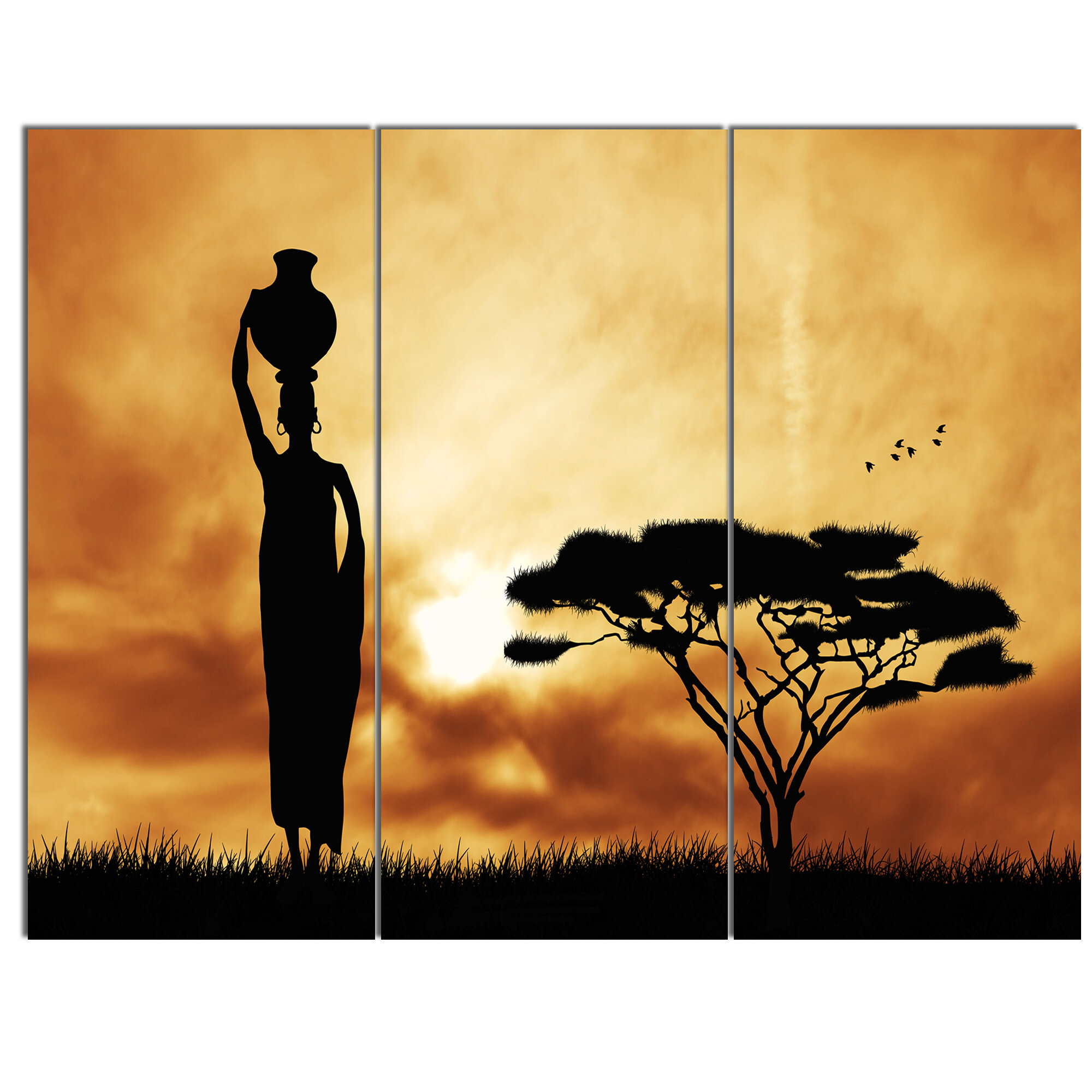 DesignArt \'African Woman and Lonely Tree\' 3 Piece Painting Print on ...