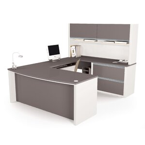Elegant Karla U Shape Computer Desk With Hutch