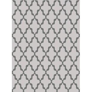 Cornett Trellis Wavy Lines Charcoal/Gray/Silver Area Rug Mercer41