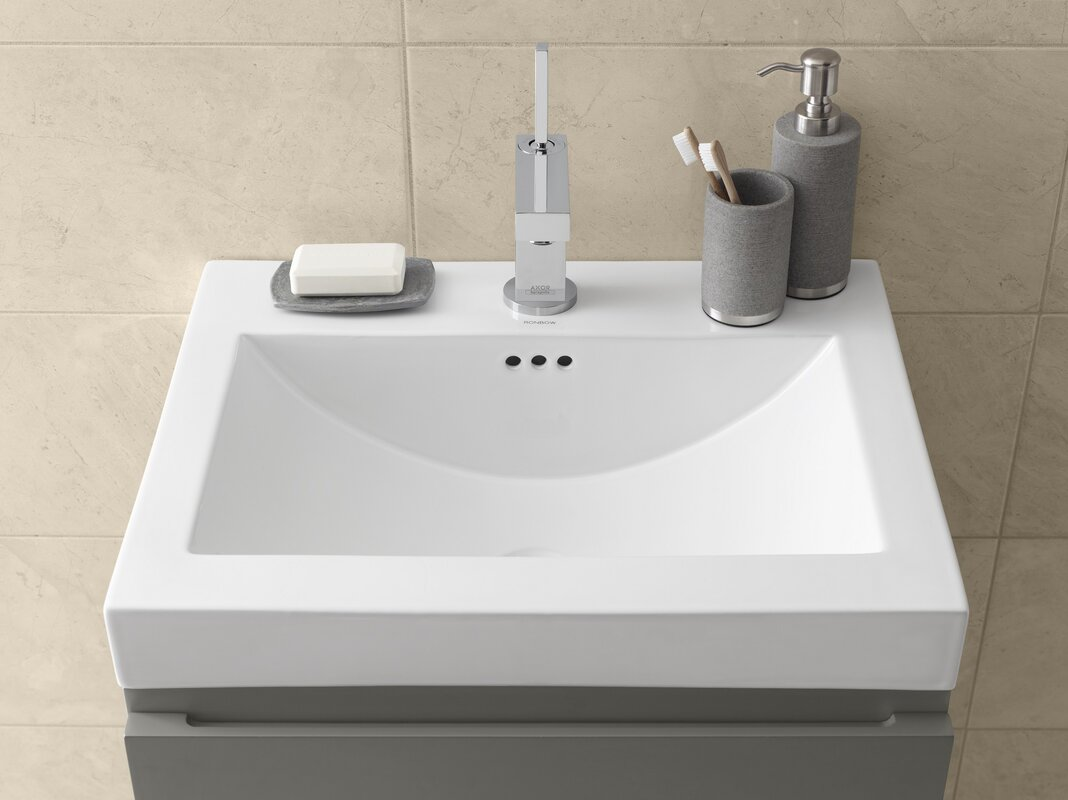 Bathroom sink rectangular - Ronbow Ceramic Rectangular Vessel Bathroom Sink With Overflow