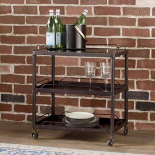 Armie Mirrored Tray Top Metal Bar Cart