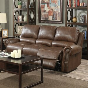 Crete Leather Reclining Sofa by Red Barrel S..