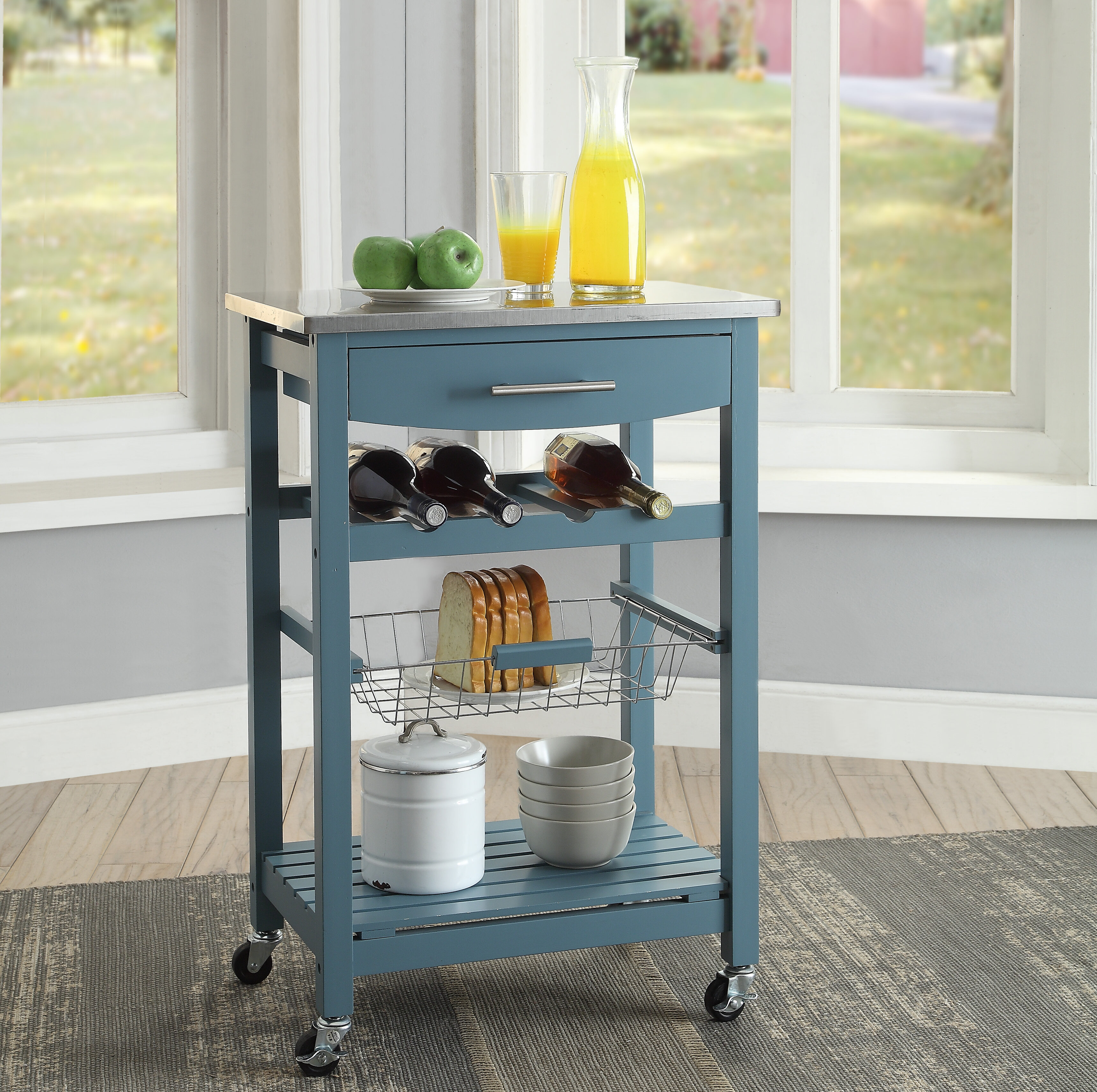 Highland Dunes Haviland Kitchen Cart With Stainless Steel Top Reviews Wayfair