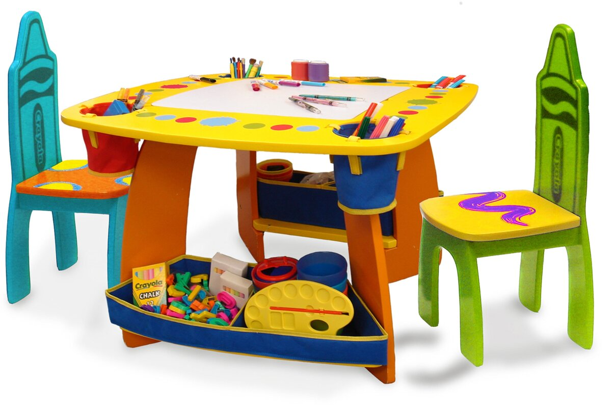 Grow \'n Up Crayola Wooden Kids 3 Piece Table and Chair Set & Reviews ...