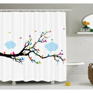 navy and orange shower curtain. Winged Birds Sitting and Tweeting on Leafless Winter Tree with Fluffy  Clouds Shower Curtain Set Orange Curtains You ll Love Wayfair