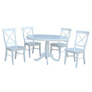 Petra Extendable Pedestal 5 Piece Dining Set by August Grove