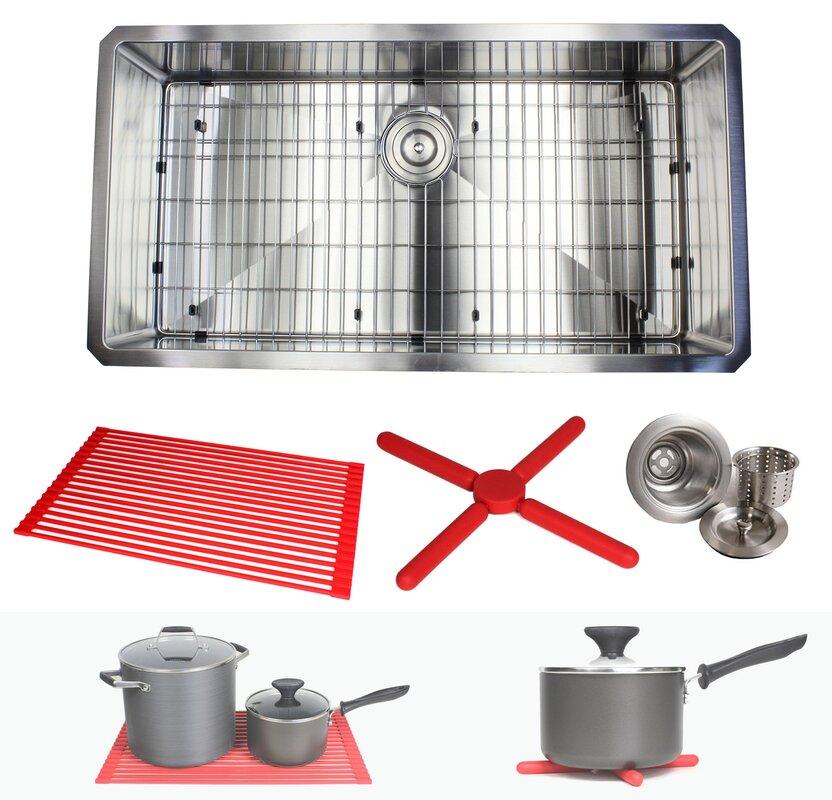 Kitchen Sink Grid Stainless Steel Emodern decor ariel premium stainless steel 36 x 19 undermount ariel premium stainless steel 36 x 19 undermount kitchen sink with sink grid and workwithnaturefo