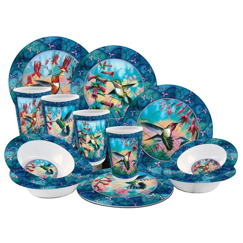 Hummingbird Melamine 12 Piece Dinnerware Set Service for 4  sc 1 st  Wayfair & MotorHead Products Hummingbird Melamine 12 Piece Dinnerware Set ...