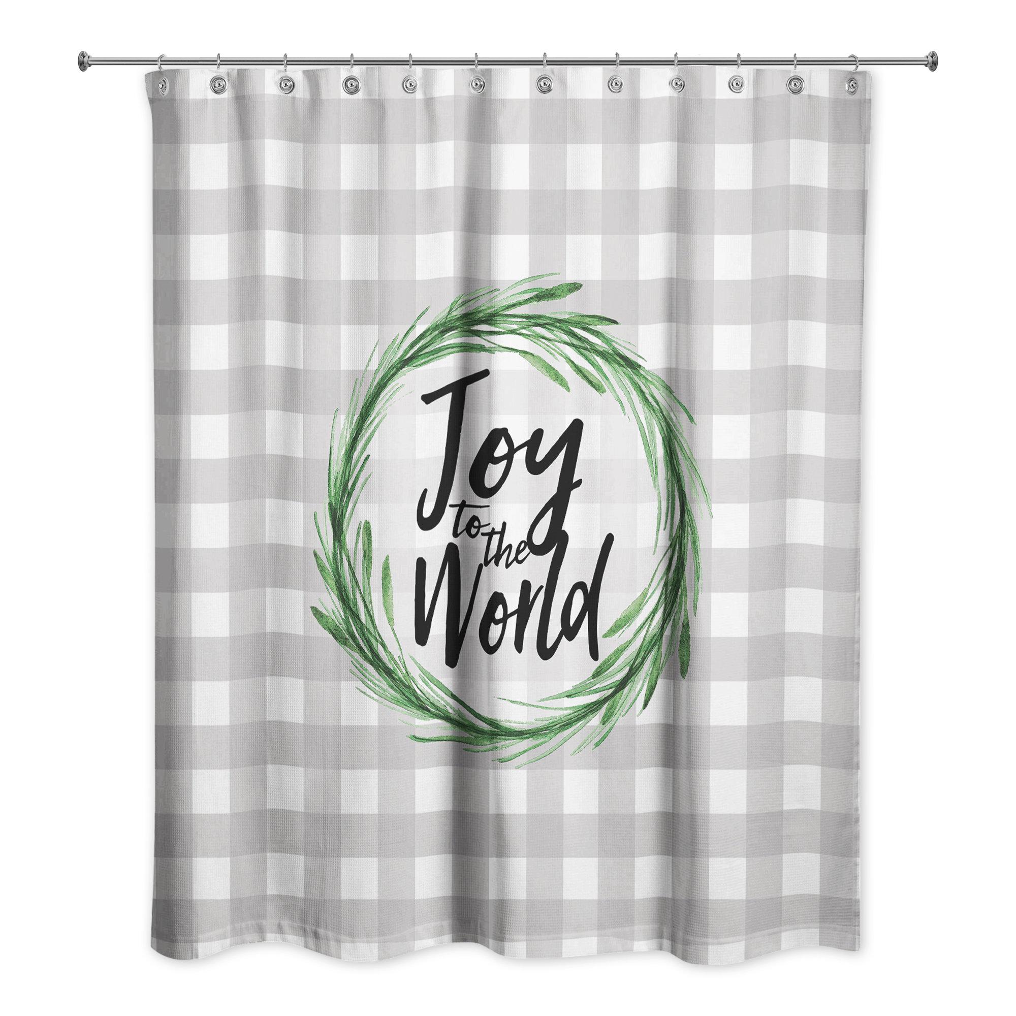 The Holiday Aisle Retha Joy To World Buffalo Check Shower Curtain