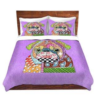 Shear Marley Ungaro Pug Dog Violet Microfiber Duvet Covers