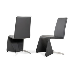 Parthenia Black Leatherette Upholstered Dining Chair (Set of 2) by Orren Ellis