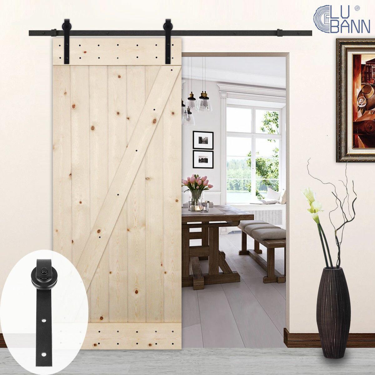 Lubann Clic J Style Sliding Wood Track Kit Barn Door Hardware Reviews Wayfair
