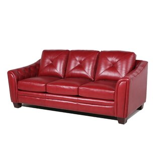 Red Bonded Leather Sofa | Wayfair