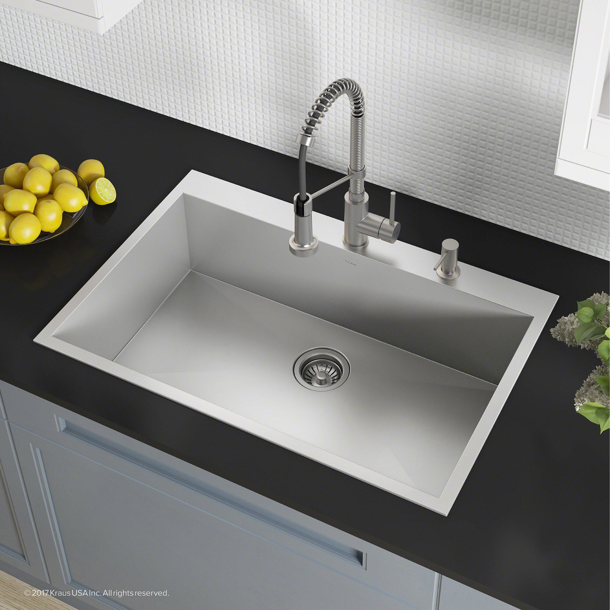 kraus pax zero radius topmount series 33 x 22 drop in kitchen rh wayfair com kitchen sinks top mount double bowl kitchen sinks top mount double bowl