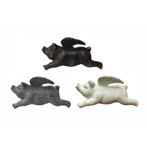Smokey Cabin 3 Piece Cast Iron Flying Pigs Wall Décor Set