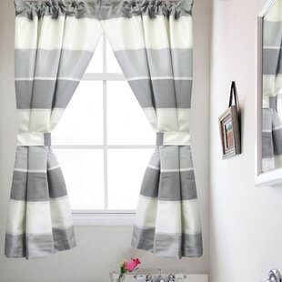 Highland Bathroom Window Striped Rod Pocket Curtain Panels (Set of 2)