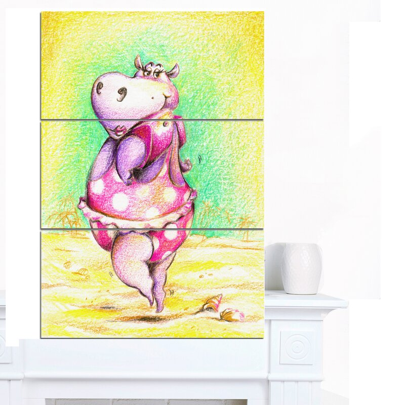 DesignArt \'Cute Hippo Goes Swimming\' 3 Piece Wall Art on Wrapped ...