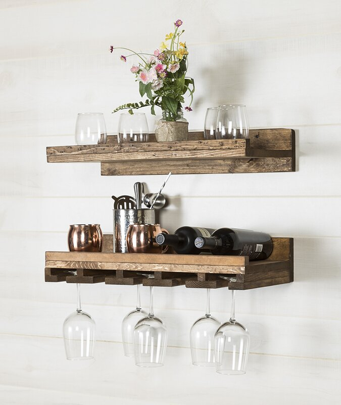 Trent Austin Design Bernon Rustic Wall Mounted Wine Glass
