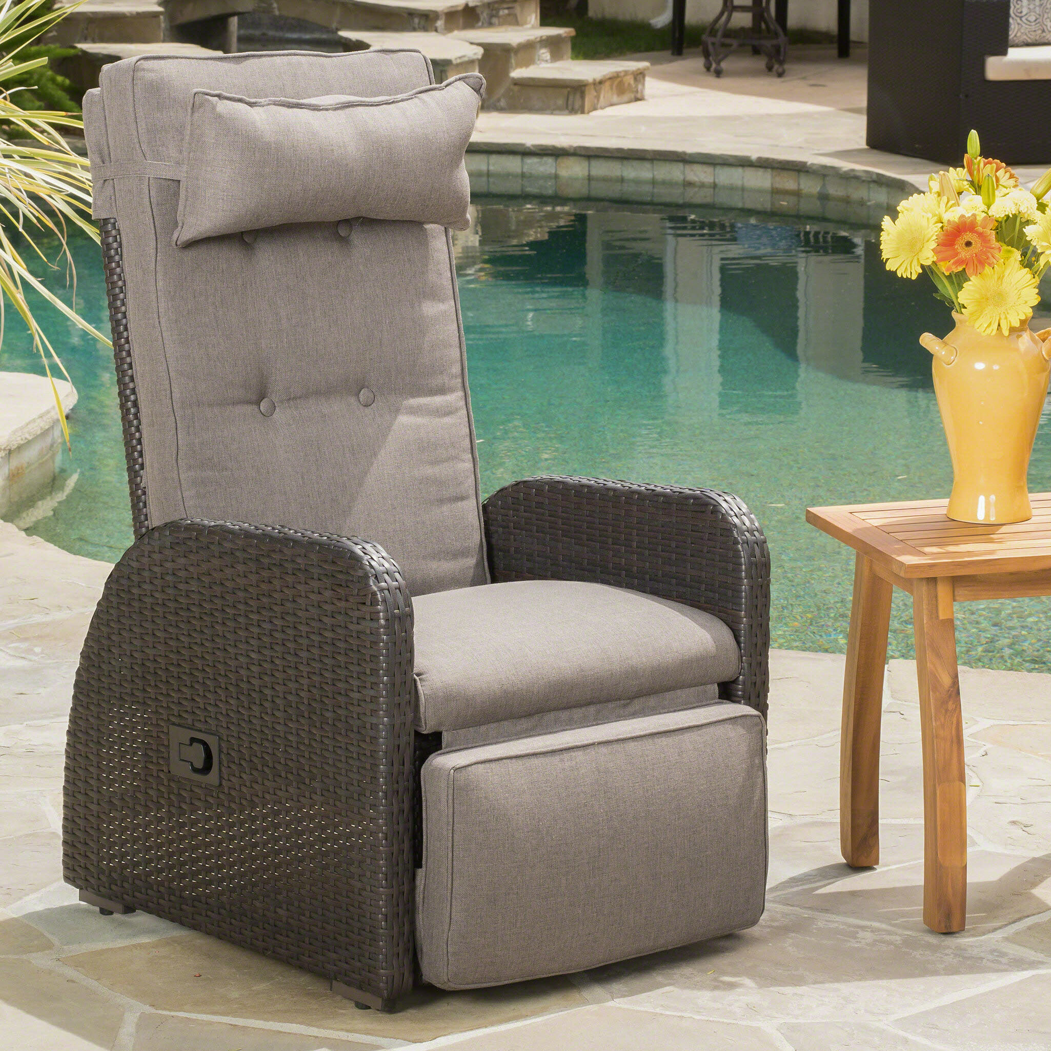 Allstate Patio Furniture.Keenes Recliner Patio Chair With Cushion