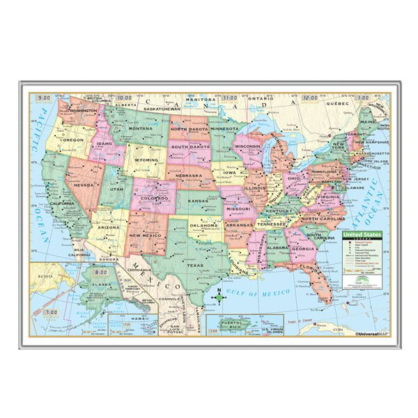 Universal Map United States Primary Mounted Framed Wall Map - Us map framed