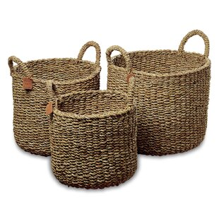 Merveilleux Nature Seagrass 3 Piece Wicker Storage Basket Set