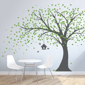 Great Large Windy Tree With Birdhouse Wall Decal Part 24