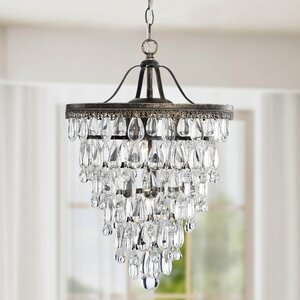 Conical 4-Light Crystal Chandelier