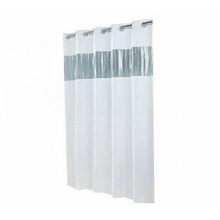Jepsen Hookless Single Shower Curtain With Clear Vinyl Window