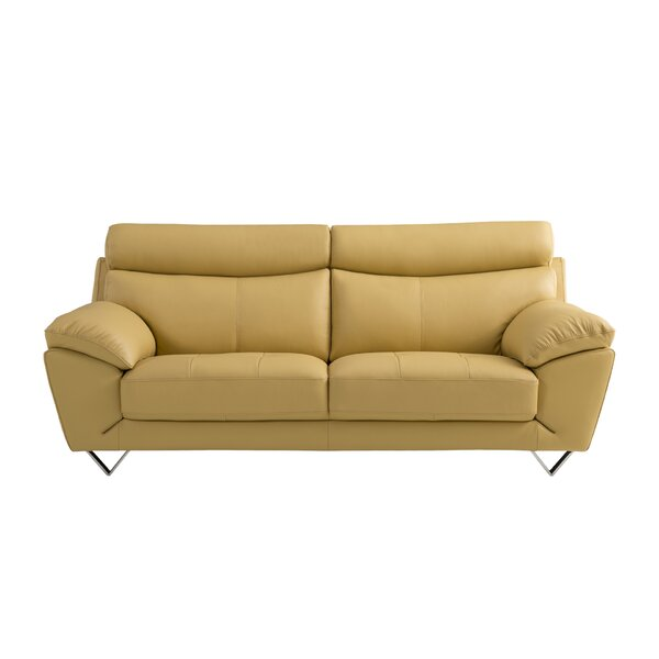 Butter Yellow Leather Sofa