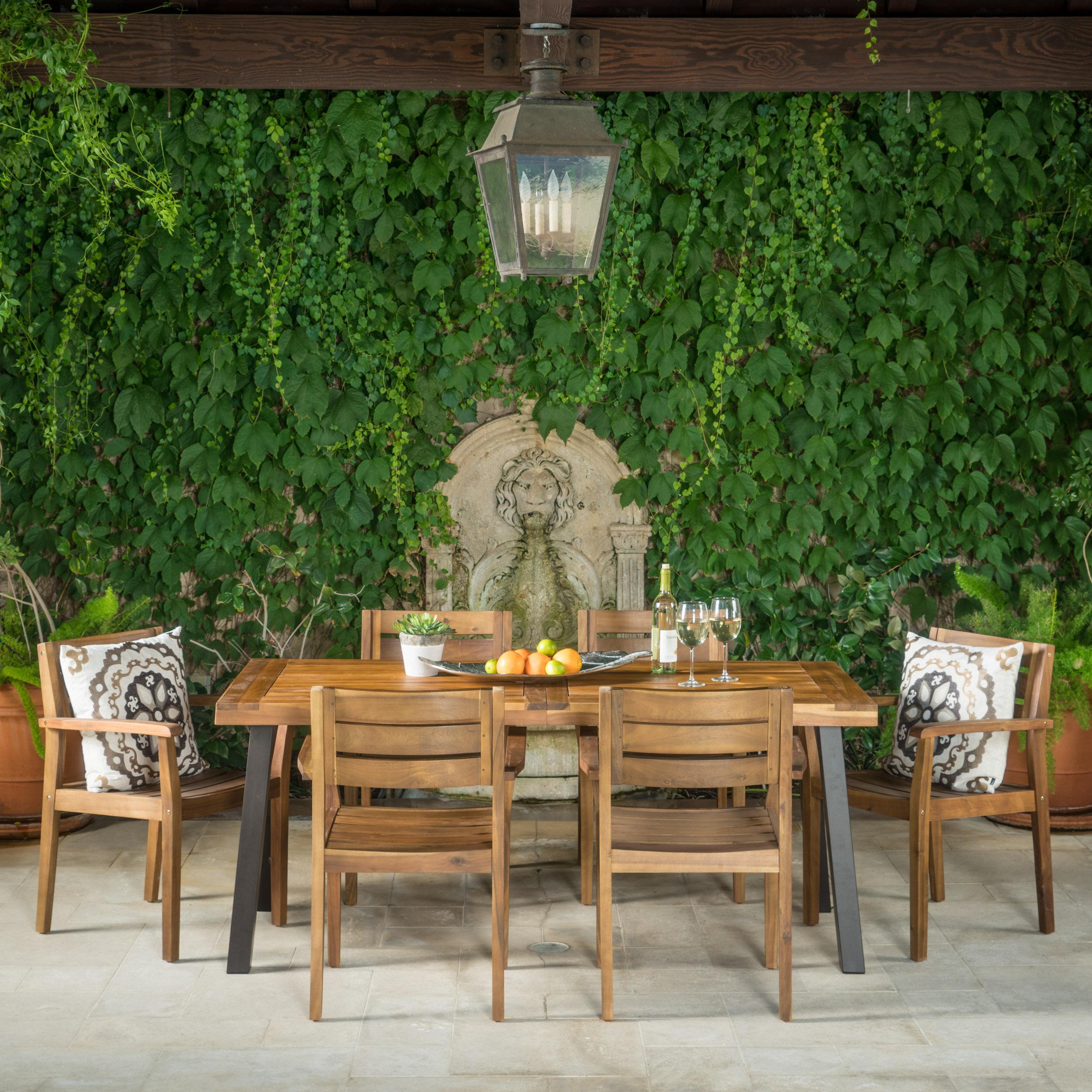 Union Rustic Adair Outdoor 7 Piece Dining Set U0026 Reviews | Wayfair