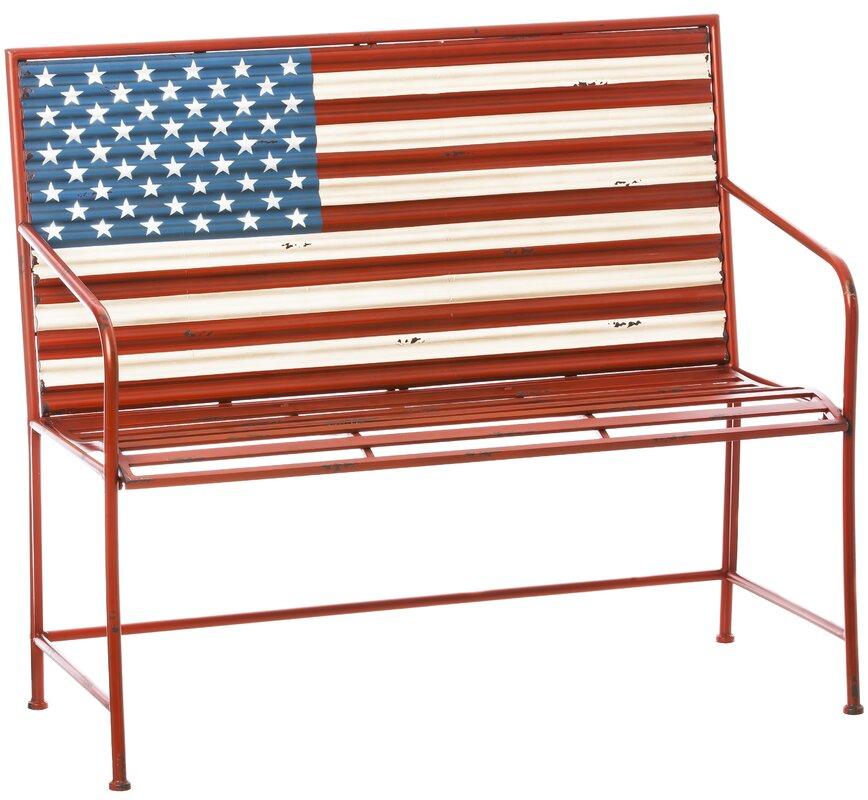 Wonderful Bennie American Flag Metal Garden Bench