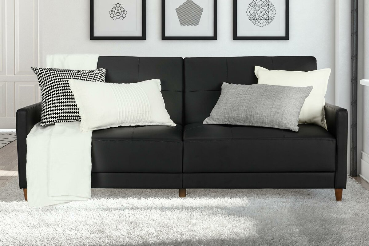 Black Leather Convertible Sofa Best Decoration And Craft 2017