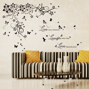 25606f4abb9 New Huge Butterfly Vine and Live Love Laugh Wall Sticker