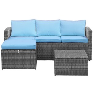 Quebec 3 Piece Sofa Set With Cushions