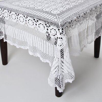 "August Grove Cavaillon Rectangular Lace Tablecloth  Size: 126"" L x 72"" W, Color: White"
