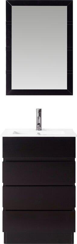 "24 White Bathroom Vanity virtu usa bruno 24"" single contemporary bathroom vanity set with"