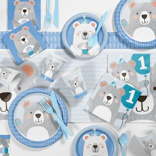 Mchugh Bear 1st Birthday Paper Plastic Party Supplies Kit