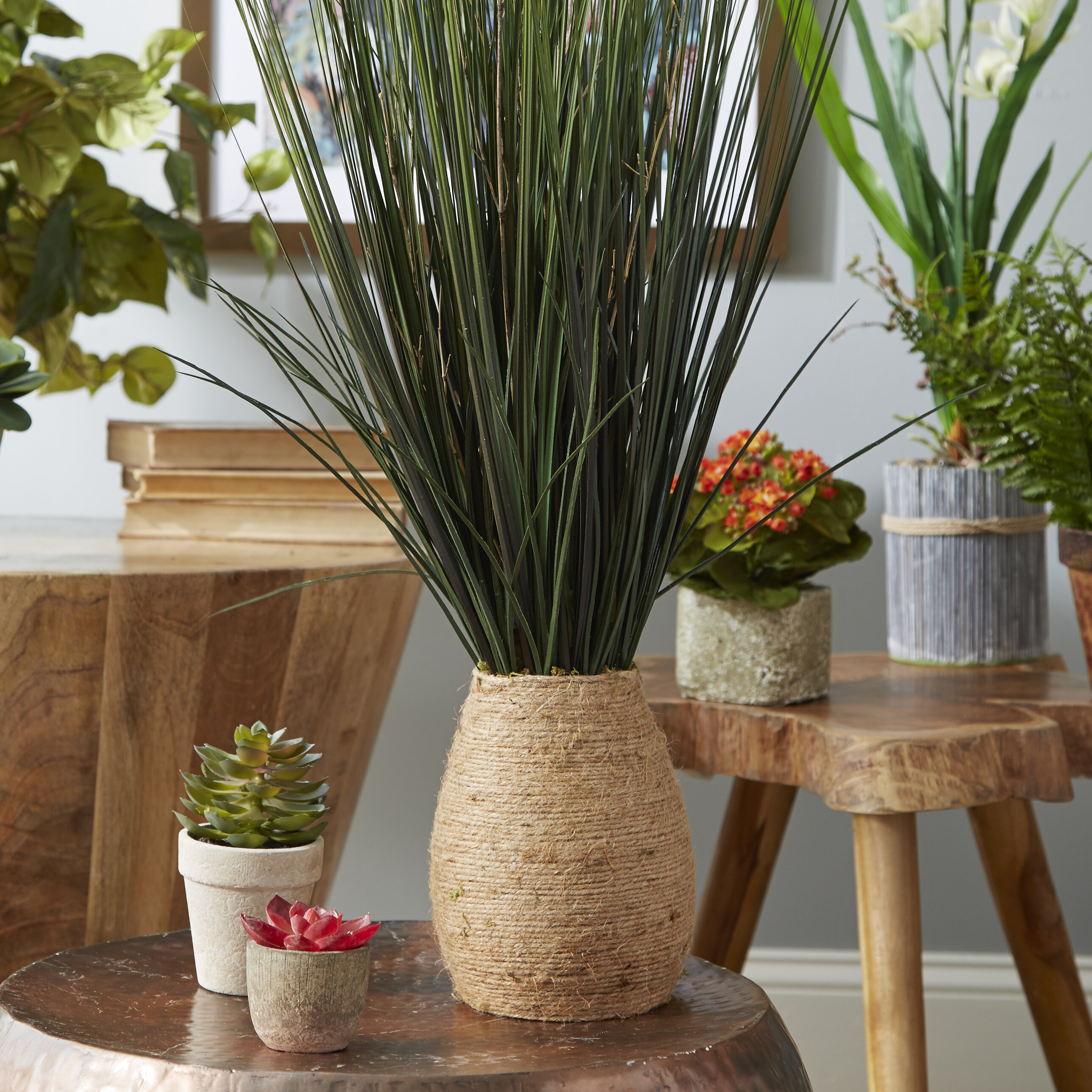 Grass With Twigs In Tapered Hemp Rope Pot