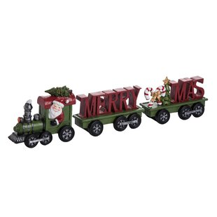 3 Piece Aaron Resin Santa Merry Christmas Train Set