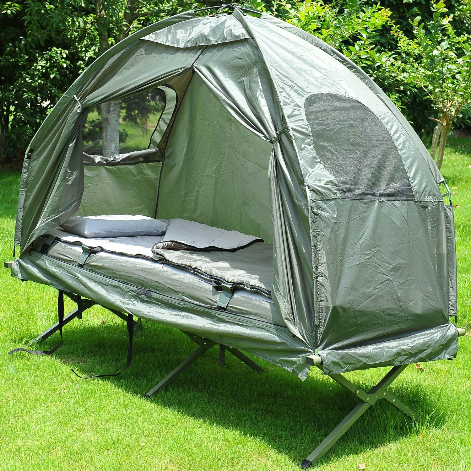 892a338d31 Outsunny Deluxe 4-in-1 Compact Folding Dome Shelter Tent with Sleeping Bag  Air Mattress Pillow & Reviews | Wayfair