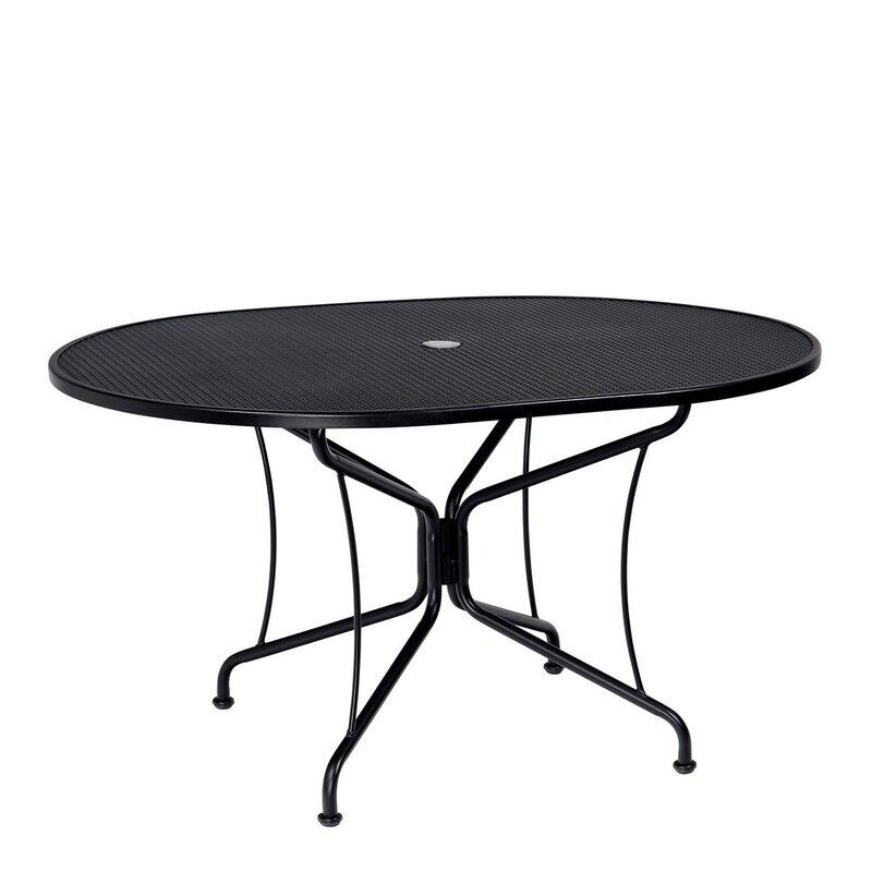 Premium Mesh Top Oval Umbrella Dining Table