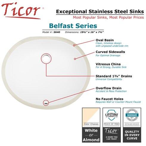 Belfast Series Ceramic Oval Undermount Bathroom Sink With Overflow