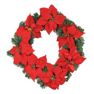 24 lighted artificial poinsettia christmas wreath