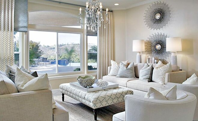 Glam living room decor wayfair for Glam modern living room