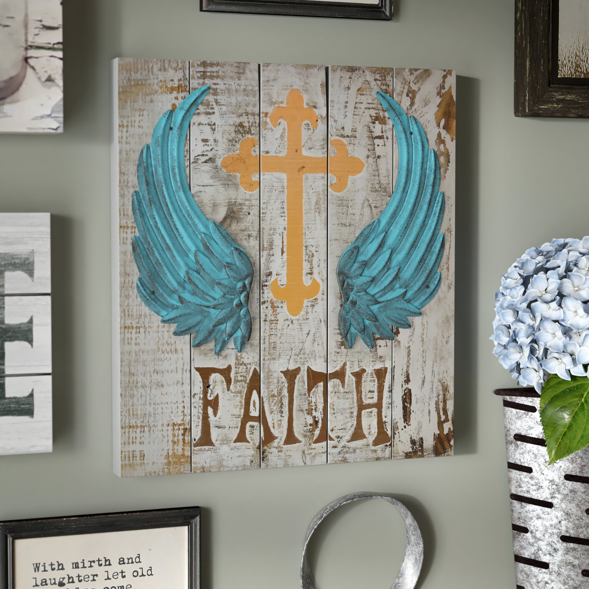 August Grove Wings On Wood Faith Wall Dcor Wayfair