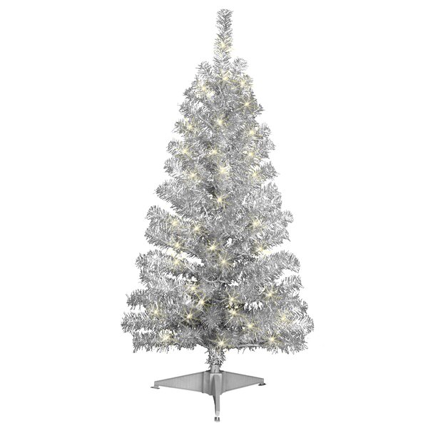 Jeco Inc 4 Silver Artificial Christmas Tree With 70 Clear Lights