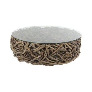 Altagore Natural Round Driftwood Twigs and Glass Coffee Table by Foundry Select