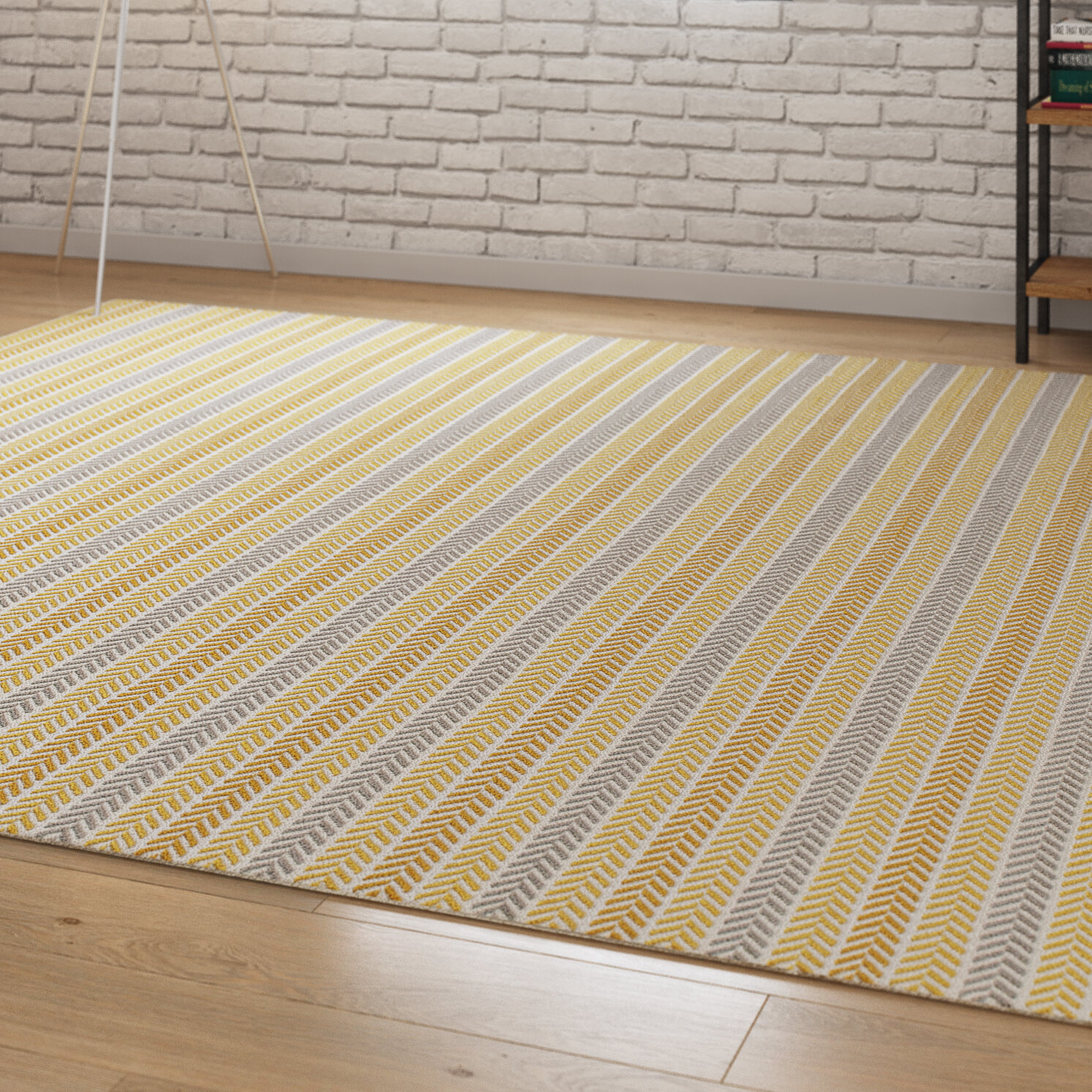 Altair Hand Woven Cotton Yellow Gray Area Rug